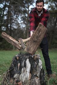 asher splitting wood
